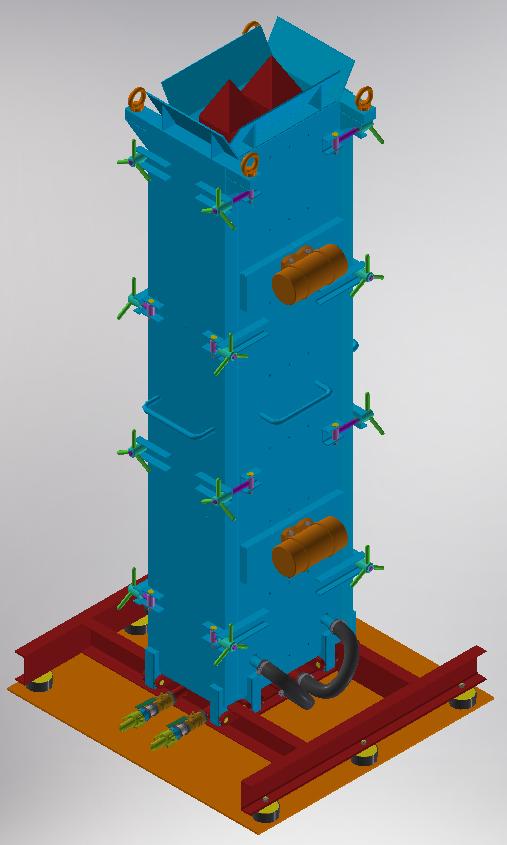 Металева форма МФВБ для вертикального вібраційного формування вентиляційного блоку ВБС-30 магістрального типу